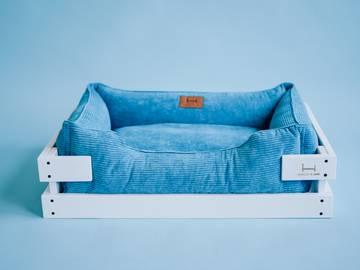 Лежак dreamer white + blue velvet с деревянным каркасом по цене 0 грн.