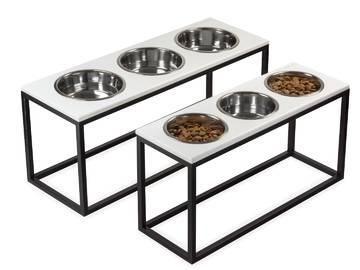 Три миски на подставке dinner white wood + black фото