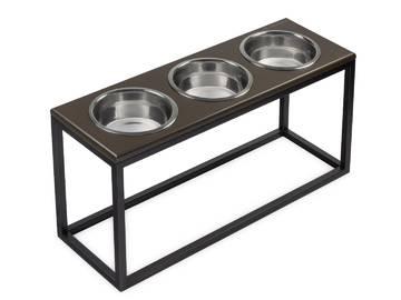 Три миски на подставке dinner brown wood + black фото