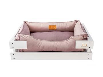 Лежак dreamer white + pink velur фото