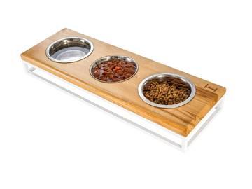 Три миски на подставке lunch bar natural wood + white фото