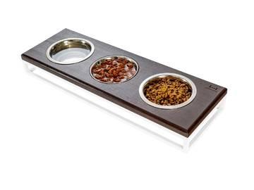 Три миски на подставке lunch bar brown wood + white фото