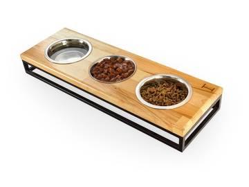 Три миски на подставке lunch bar natural wood + black фото
