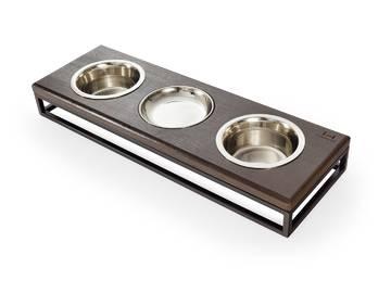 Три миски на подставке lunch bar brown wood + black фото