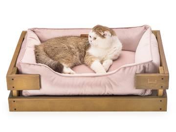 Лежак для кошек dreamer nature + pink velur с деревянным каркасом по цене 0 грн.