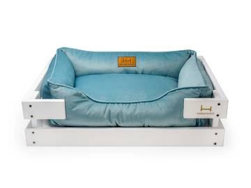Лежак для котиков dreamer white + blue velur с деревянным каркасом по цене 0 грн.