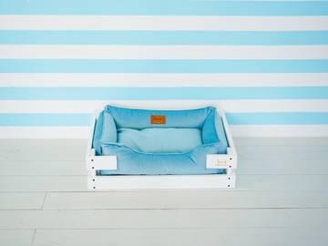 Лежак для котиков dreamer white + blue velur фото