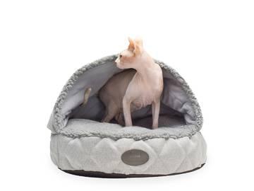 Лежак с капюшоном для котов cover silver фото
