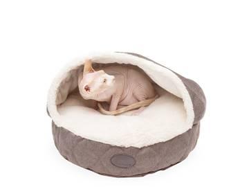 Лежак с капюшоном для котов cover brown фото