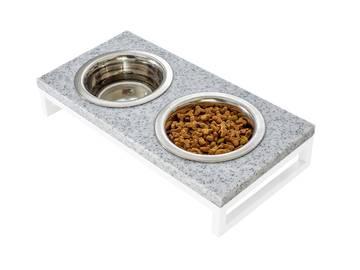 Миски на подставке из камня для котов pepper stone + white. фото